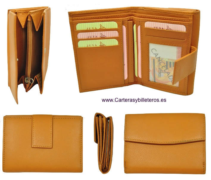 LEATHER WALLET PURSE WALLET WOMAN WITH DOUBLE. LEATHER