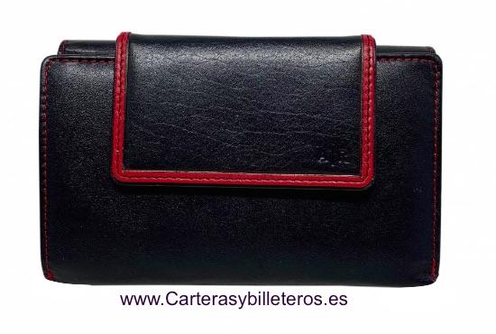 CARTERA BILLETERO TARJETERO CON MONEDERO EN PIEL NAPALUX NEGRO Y ROJO