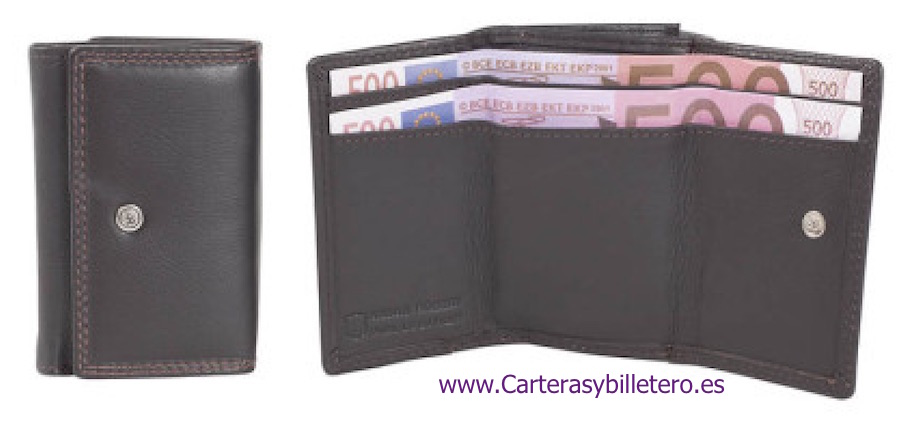WALLET PURSE MADE IN LUXURY LEATHER BROWN