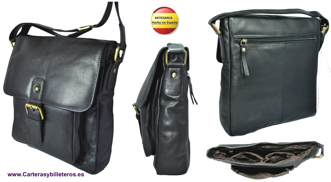 BIG BAG LEATHER MAN MADE IN SPAIN WITH POCKETS. BLACK