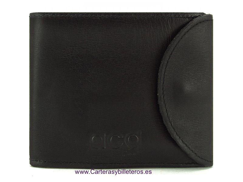 PURSE WALLET WITH LEATHER CLOSURE BLACK
