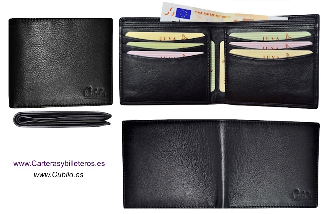 NAPA LEATHER WALLET CARD ULTRA-THIN FROM UBRIQUE (SPAIN) BRAN CUBILO BLACK