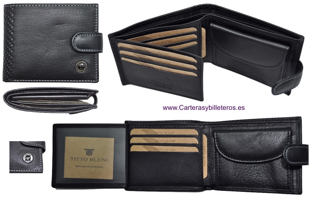 cartera de hombre de piel luxury marca titto bluni. Black Bedroom Furniture Sets. Home Design Ideas