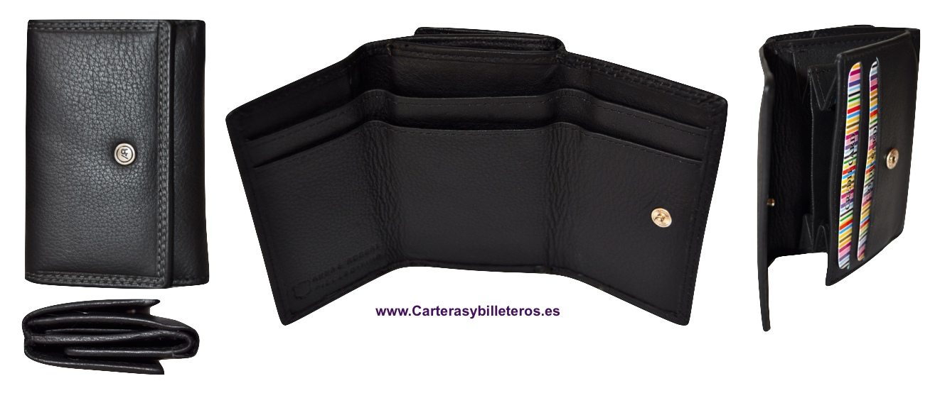 WALLET PURSE MADE IN LUXURY LEATHER BLACK