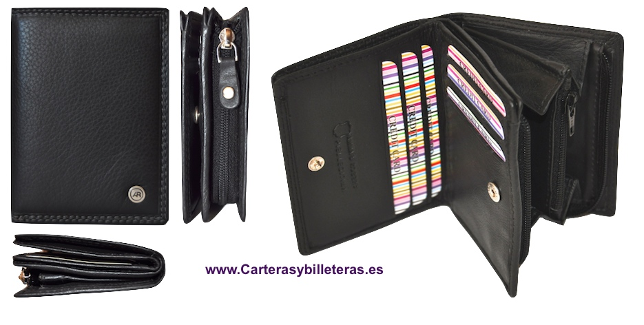 CARTERA MONEDERO EN PIEL LUXURY CON BILLETERO NEGRO