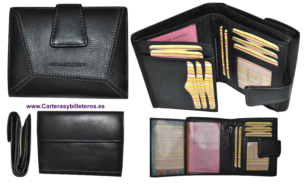 ... LEATHER WALLET PURSE WOMEN WITH SMALL BLACK ... 501d6fc0d