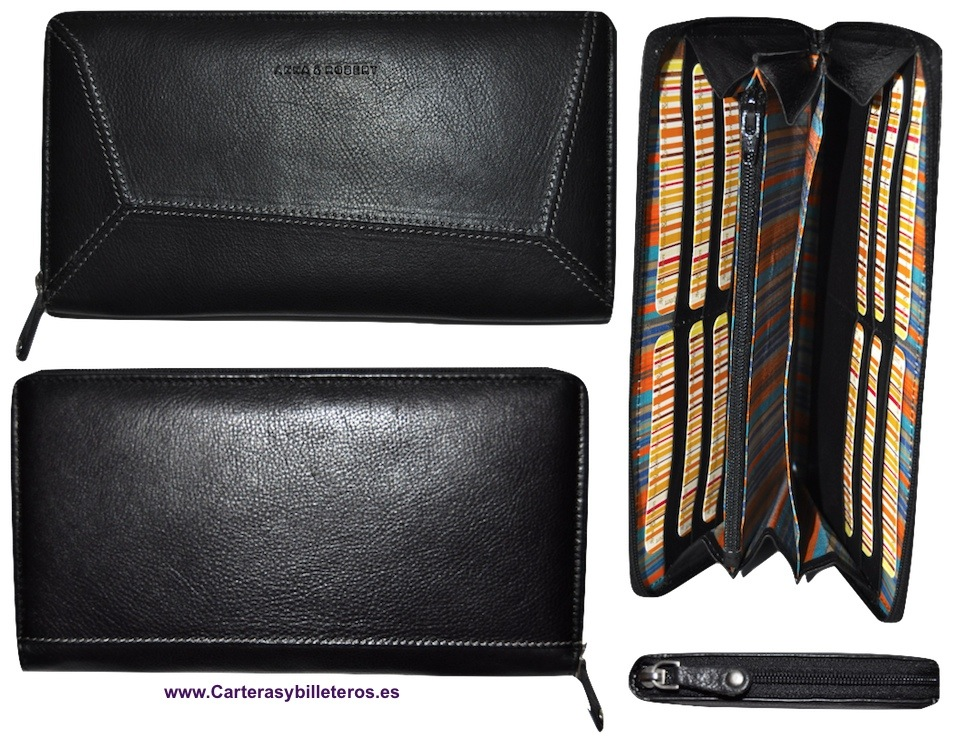CARTERA BILLETERA CLUTCH DE PIEL NEGRO