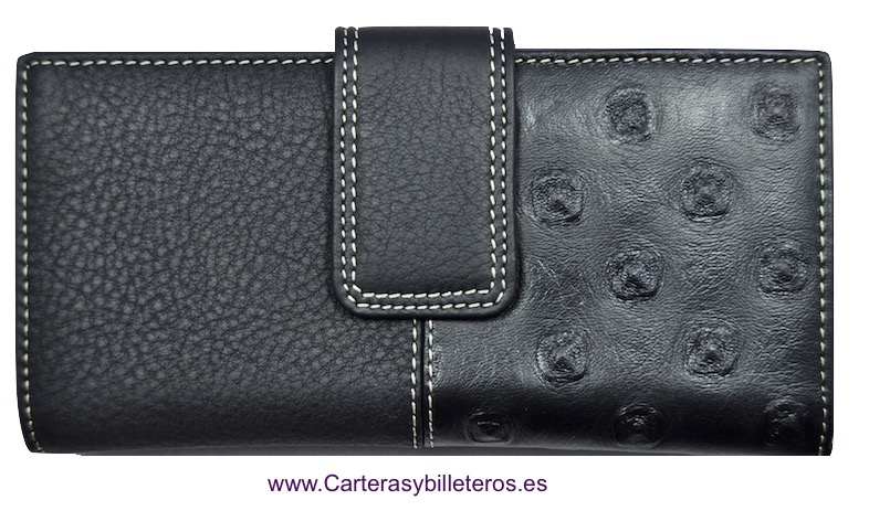BIG WOMEN WALLET WITH DOUBLE LEATHER FINISH BLACK