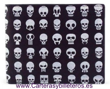 CARTERA CON CALAVERAS PARA HOMBRE HECHA DE PIEL