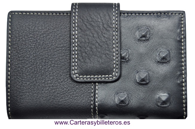 WOMEN'S BLACK THREE LEATHER WALLET MANUFACTURED IN SPAIN BLACK