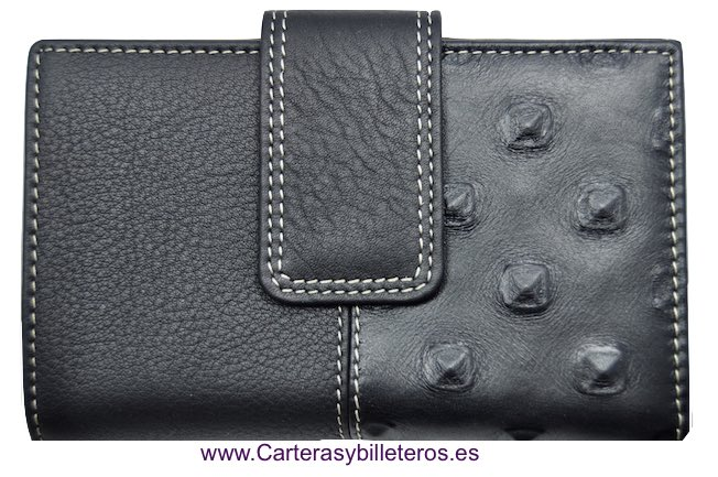MEDIUM WOMEN'S WALLET WITH TWO LEATHER FINISHES MADE IN SPAIN BLACK