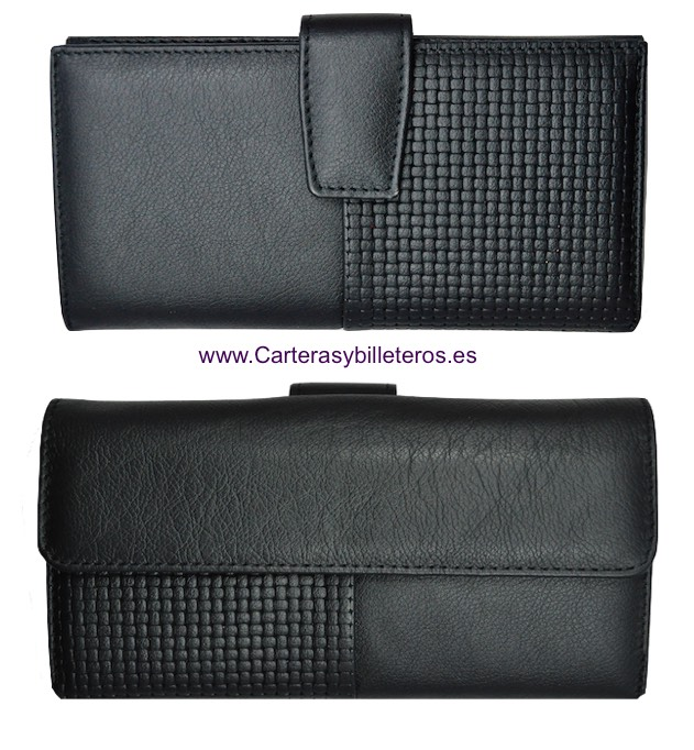 NAPA LEATHER WOMAN WALLET BIG CARD - 5 colors- BLACK