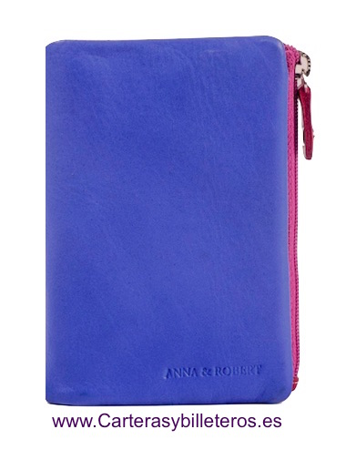 MULTICOLOR SOFT LEATHER PURSE WALLET AZUL Y OTROS