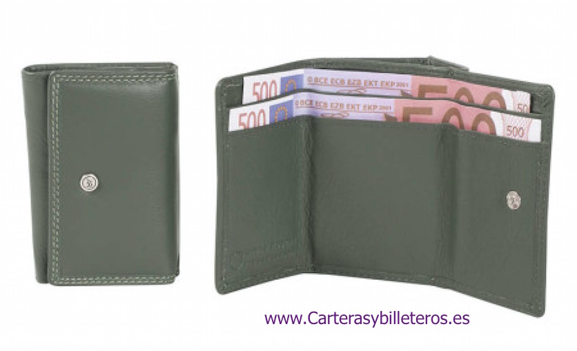 WALLET PURSE MADE IN LUXURY LEATHER DARK GREEN