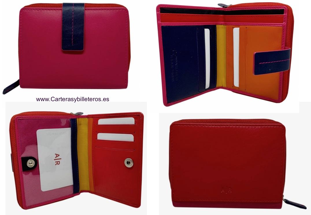 MONEDERO CARTERA DE MUJER CON BILLETERO DE PIEL - Nuevos colores colección 2019-2020 - FUCSIA AZUL Y ROJO POSTERIOR