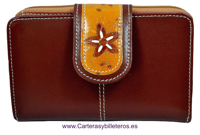WALLET OF WOMAN LEATHER MADE IN SPAIN HANDCRAFT LONG LEATHER