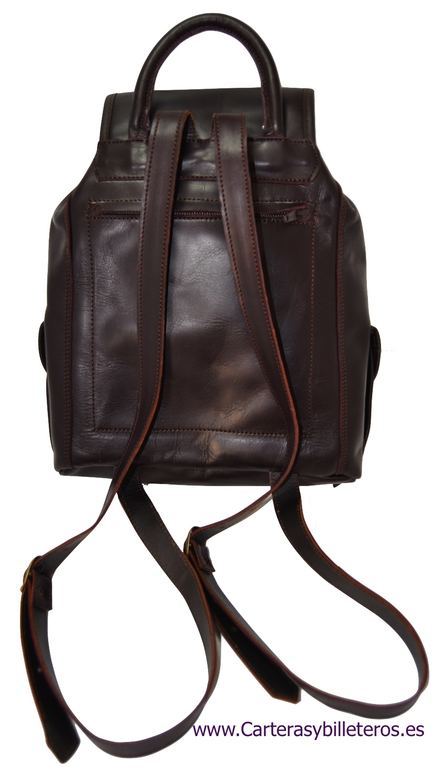 PONY LEATHER BAG HANDMADE DARK BROWN REVERSE PHOTO