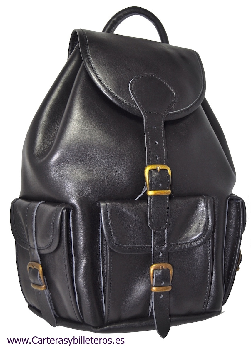 LEATHER BACKPACK WITH FOUR POCKETS SIZE BIG BLACK