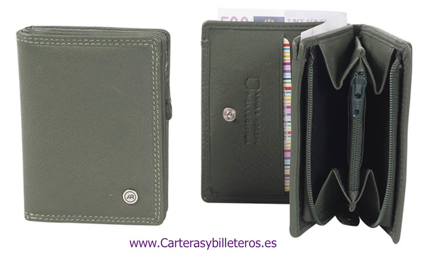 CARTERA MONEDERO EN PIEL LUXURY CON BILLETERO VERDE OSCURO