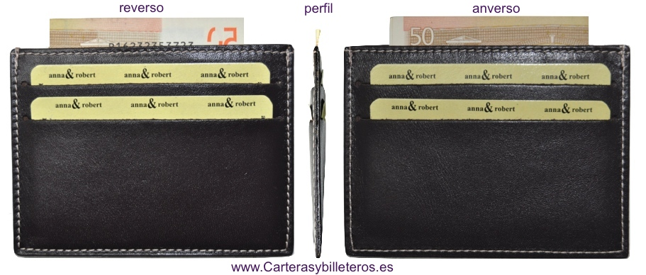 TARJETERO PIEL SUPERFINO CON BILLETERO MARRON