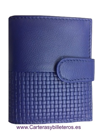 WOMEN'S LEATHER WALLET NAPA MADE IN SPAIN BLUE NAVY