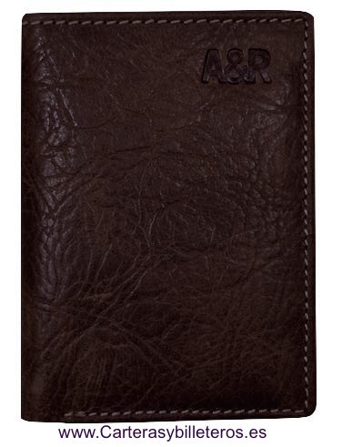 CARD HOLDER OF MAN IN SKIN BISONTE OF QUALITY BROWN