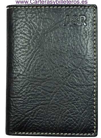 CARD HOLDER OF MAN IN SKIN BISONTE OF QUALITY BLACK