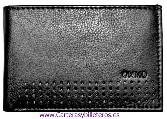 CARTERA TARJETERO DE PIEL CON BILLETEROY MONEDERO MINI NEGRO