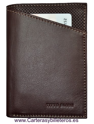 MAN WALLET TITTO BLUNI MAKE IN LUXURY LEATHER WITH PURSE GRAPHITEC BROWN