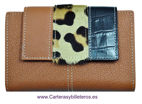WALLET WOMEN'S LEATHER WITH LEOPARD MADE IN SPAIN LEATHER