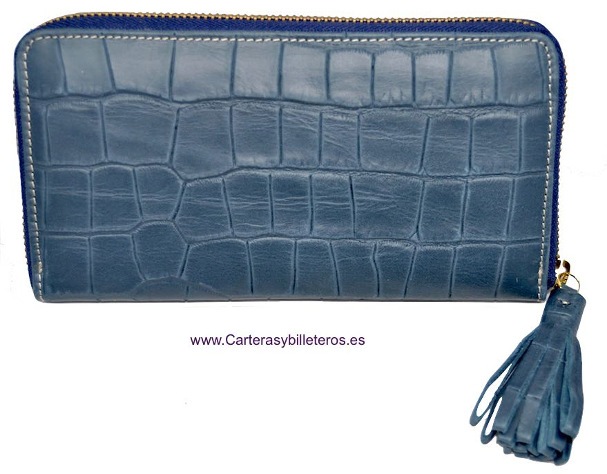 WALLET WOMAN LEATHER WITH ZIP CLOSURE WITH AN ORNAMET AZUL AZAFATA