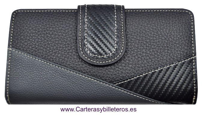 PURSE WALLET FOR WOMEN LEATHER AND CARBON FIBER GRANDE BLACK AND GREY
