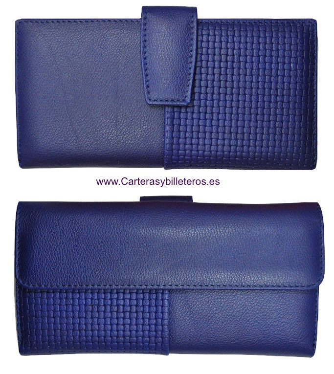 NAPA LEATHER WOMAN WALLET BIG CARD - 5 colors- BLUE NAVY