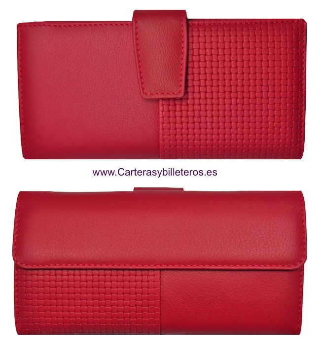 NAPA LEATHER WOMAN WALLET BIG CARD - 5 colors- ROJO