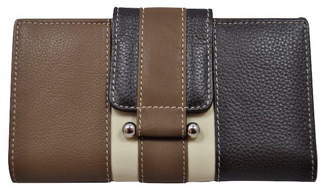 LARGUE WALLET WOMEN'S WITH A LEATHER BOW MADE IN SPAIN MARRON Y CAMEL