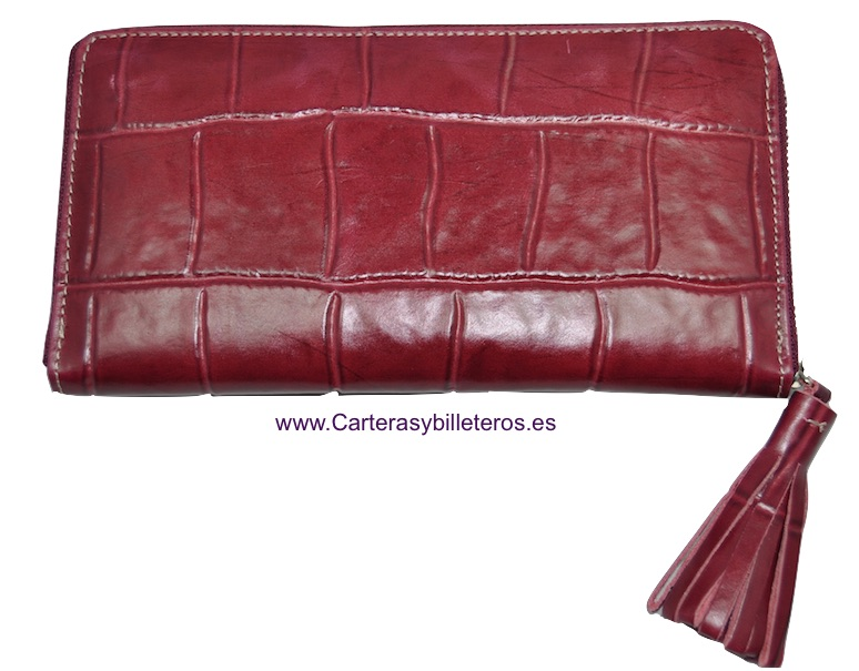 WALLET WOMAN LEATHER WITH ZIP CLOSURE WITH AN ORNAMET BORDEAUX