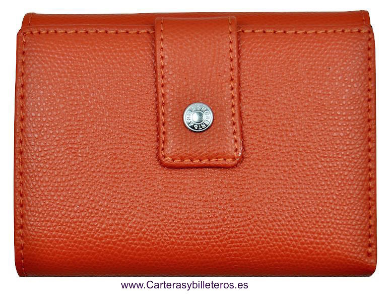 LEATHER WALLET PURSE WALLET WOMAN WITH DOUBLE. SIENA