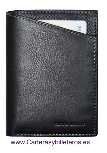 MAN WALLET TITTO BLUNI MAKE IN LUXURY LEATHER WITH PURSE GRAPHITEC BLACK