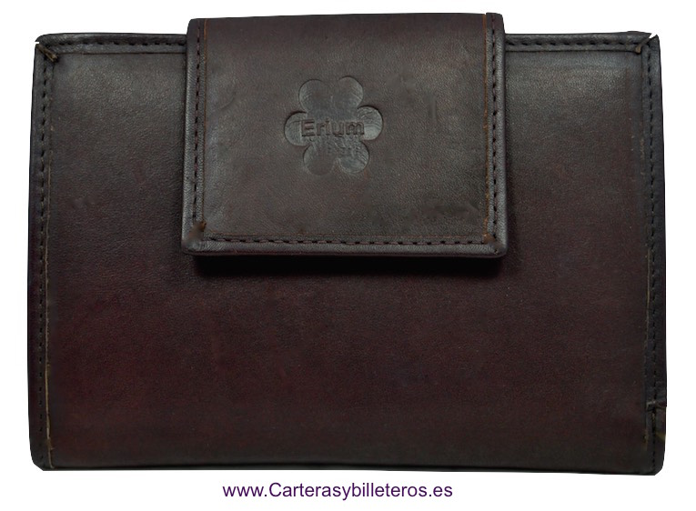WOMEN'S LEATHER WALLET ERIUM 16 CARDS BROWN