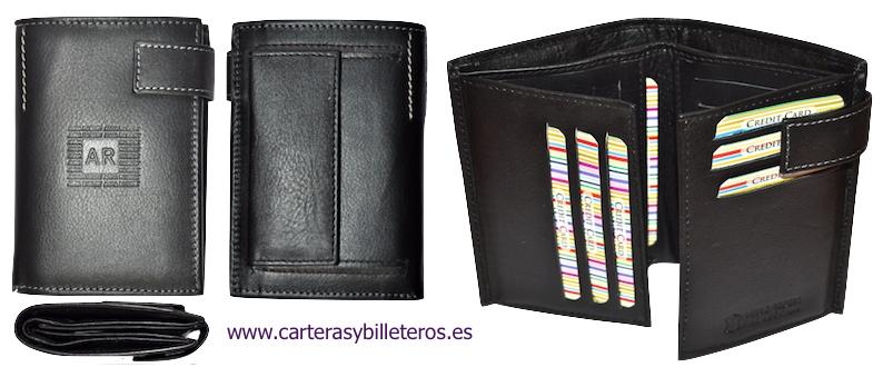 TARJETERO BILLETERO DE PIEL LEGITIMA GRANDE NEGRO