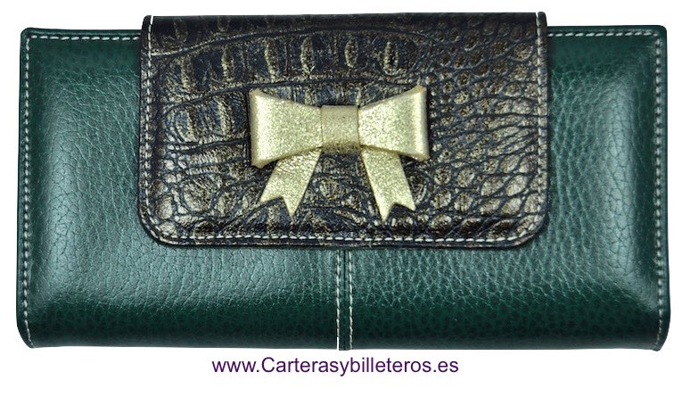 LARGUE WALLET WOMEN'S WITH A LEATHER BOW WITH TIE MADE IN SPAIN VERDE INGLES