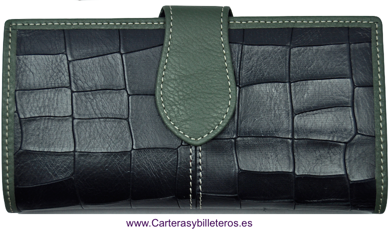 WALLET OF WOMAN SKIN OF COCO MADE IN SPAIN HANDCRAFT LONG BLACK