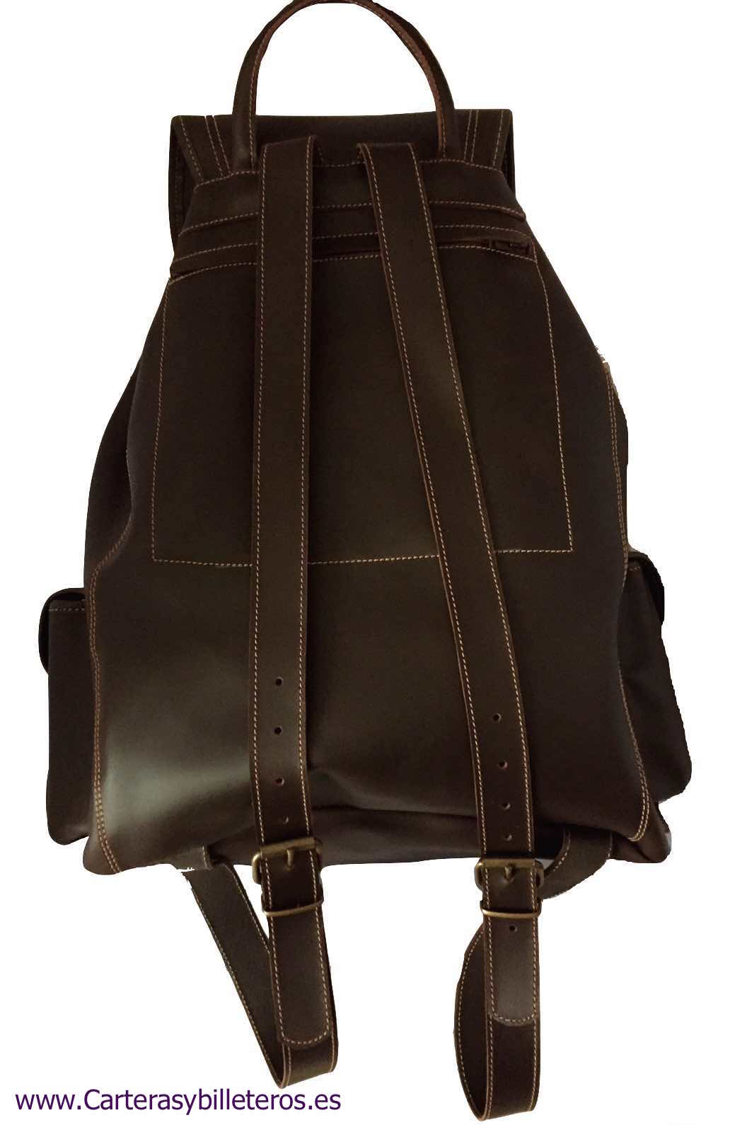 LEATHER BACKPACK WITH FOUR POCKETS SIZE BIG DARK BROWN