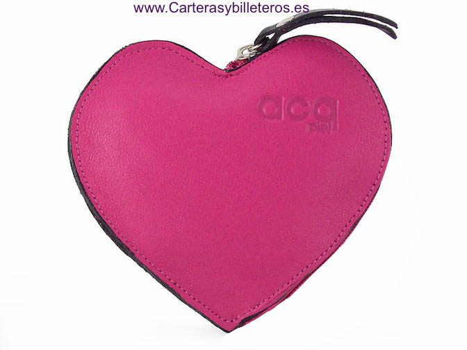 HEART PURSE ZIPPER FUCHSIA