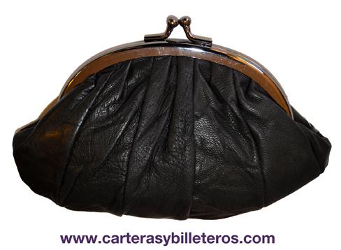 MONEDERO CARTERA DOBLE DE MANO CON BOQUILLA DE PIEL NEGRO