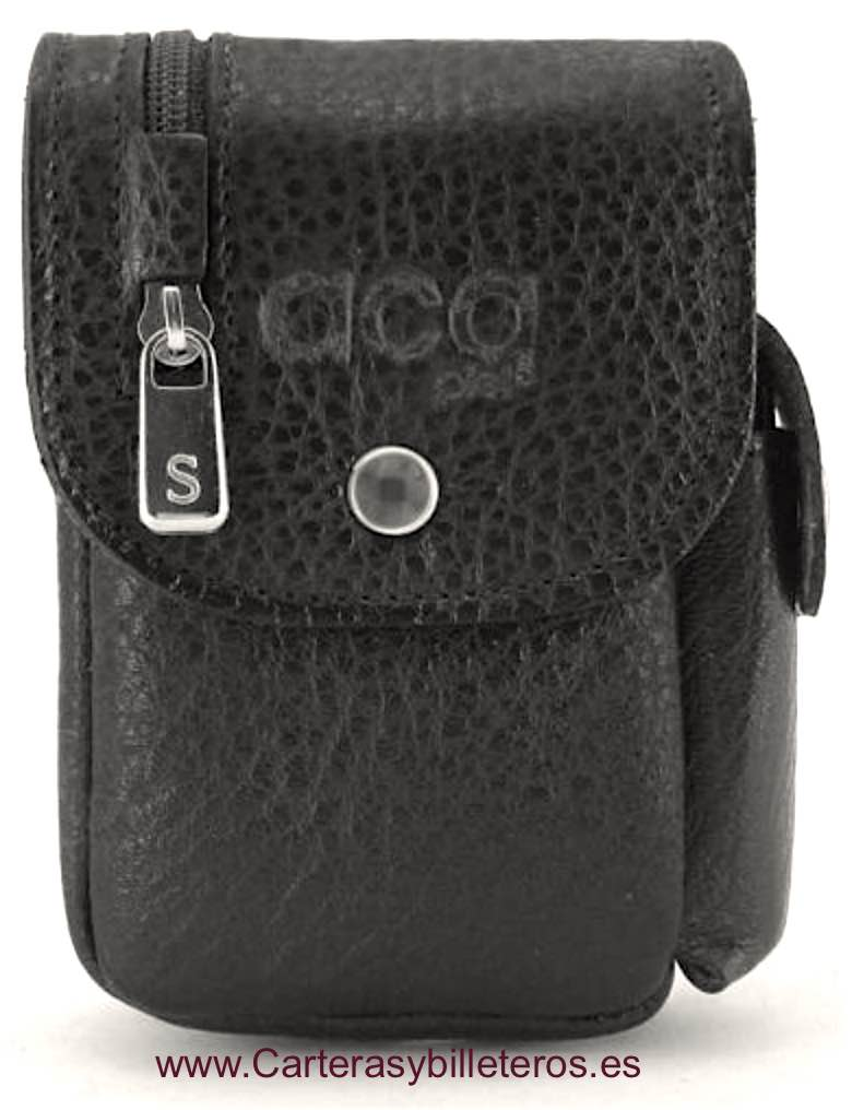 LEATHER CIGARETTE CASE WITH WALLET AND LIGHTER BLACK