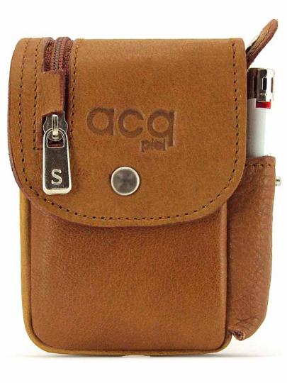 LEATHER CIGARETTE CASE WITH WALLET AND LIGHTER LEATHER