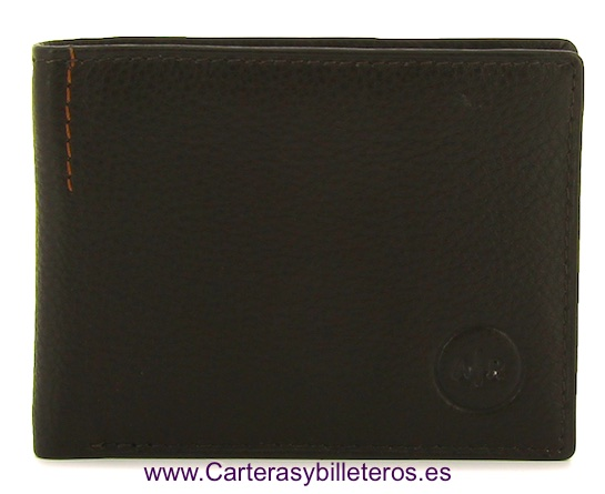 TARJETERO BILLETERO DE PIEL LUXURY MARRON