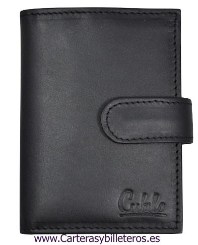LEATHER WALLET CARD HOLDER 26 CARDS CUBILO BRAND BLACK