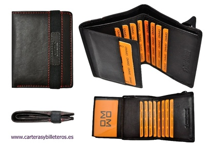 watch cebb0 53b52 THIN WALLET CARD HOLDER WITH ELASTIC CLOSURE MAKE IN LEATHER 10 CREDIT CARD